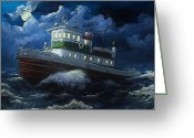 "\\\\\\\""storm Prints\\\\\\\\\\\\\\\"" Painting Greeting Cards - Tug boat on rough water Greeting Card by Virginia Sonntag"