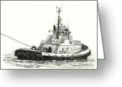Pacific Drawings Greeting Cards - Tugboat ARTHUR FOSS Greeting Card by James Williamson