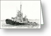 Pacific Drawings Greeting Cards - Tugboat DANIEL FOSS Heading Out Greeting Card by James Williamson