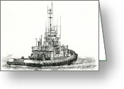 Pacific Drawings Greeting Cards - Tugboat DANIEL FOSS Greeting Card by James Williamson