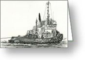 Pacific Drawings Greeting Cards - Tugboat DAVID FOSS Greeting Card by James Williamson