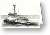 Pacific Drawings Greeting Cards - Tugboat DREW FOSS Greeting Card by James Williamson