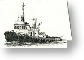 Pacific Drawings Greeting Cards - Tugboat EDITH FOSS Greeting Card by James Williamson