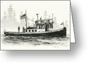 Pacific Drawings Greeting Cards - Tugboat HENRIETTA FOSS Greeting Card by James Williamson