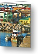 Caribbean Homes Greeting Cards - Tugboat in St Kitts Harbor Greeting Card by George Sylvia