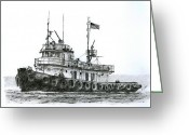 Drawing Greeting Cards Greeting Cards - Tugboat IVER FOSS Greeting Card by James Williamson