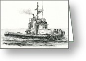 Pacific Drawings Greeting Cards - Tugboat KELLY FOSS Greeting Card by James Williamson