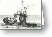 Pacific Drawings Greeting Cards - Tugboat LELA FOSS Greeting Card by James Williamson