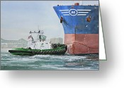 Artist Canvas Painting Greeting Cards - Tugboat LEO FOSS Greeting Card by James Williamson