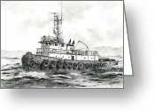 Pacific Drawings Greeting Cards - Tugboat SANDRA FOSS Greeting Card by James Williamson