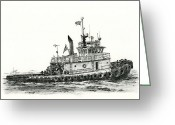 Pacific Drawings Greeting Cards - Tugboat SHELLEY FOSS Greeting Card by James Williamson