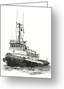 Pacific Drawings Greeting Cards - Tugboat SIDNEY FOSS Greeting Card by James Williamson