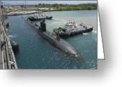 Submarines Greeting Cards - Tugboats Assist The Los Angeles-class Greeting Card by Stocktrek Images