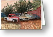 Black And White Photos Painting Greeting Cards - Tularosa Motors Greeting Card by Jack Pumphrey