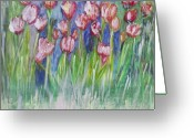 Tulip Art Botanical Art Painting Greeting Cards - Tulip Bed Greeting Card by Don  Wright