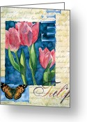 Tulip Art Botanical Art Painting Greeting Cards - Tulip Butterfly Greeting Card by Linda Wells