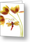 Dragonfly Greeting Cards - Tulip Dragonfly Greeting Card by Rebecca Cozart