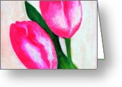 Tulip Art Botanical Art Painting Greeting Cards - Tulip Greeting Card by Farah Faizal