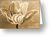 Brown Tones Photo Greeting Cards - Tulip In Brown Tones Greeting Card by Marsha Heiken