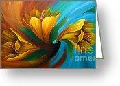 Flower Photographs Painting Greeting Cards - Tulip in Motion Greeting Card by Uma Devi