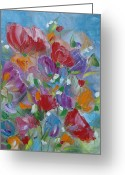 Tulip Art Botanical Art Painting Greeting Cards - Tulip Symphony Greeting Card by Judith Rhue