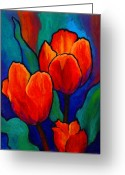 Spring Tulip Greeting Cards - Tulip Trio Greeting Card by Marion Rose