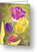 Tulips Pastels Greeting Cards - Tulips 2012 Greeting Card by Iris M Gross