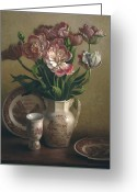 Autograph Greeting Cards - Tulips and Redware Greeting Card by Lyndall Bass
