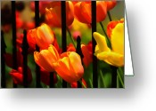 Huisken Greeting Cards - Tulips and Wrought Iron Greeting Card by Lyle  Huisken