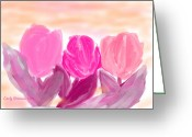 Tulips Pastels Greeting Cards - Tulips Greeting Card by Carly Stroman