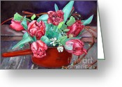 Fine Art - Still Lifes Greeting Cards - Tulips Greeting Card by Enzie Shahmiri