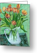 Pitcher Greeting Cards - Tulips in a White Pitcher Greeting Card by Ethel Vrana