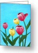 Decorative Floral Drawings Greeting Cards - Tulips in Blue Greeting Card by Anastasiya Malakhova
