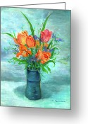 Vase Of Flowers Greeting Cards - Tulips in BlueVase Greeting Card by Ethel Vrana