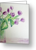 Vase Of Flowers Greeting Cards - Tulips in Purple Greeting Card by Julie Lueders