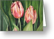 Mother Gift Painting Greeting Cards - Tulips  Greeting Card by Irina Sztukowski