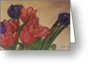 Tulips Pastels Greeting Cards - Tulips Greeting Card by Linda Scharck