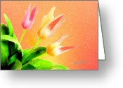 Grow Digital Art Greeting Cards - Tulips Three Greeting Card by Anthony Caruso