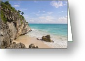 Horizon Over Water Greeting Cards - Tulum, Riviera Maya Greeting Card by Fabian Jurado
