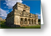 Archaeological Greeting Cards - Tulum Temple Greeting Card by Meirion Matthias