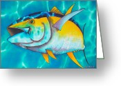 Pelagic Fish Tapestries - Textiles Greeting Cards - Tuna Greeting Card by Daniel Jean-Baptiste
