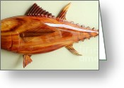 Fish Sculpture Greeting Cards - Tuna Sculpture Greeting Card by Douglas Snider