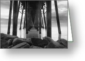 Pier Greeting Cards - Tunnel of Light - Black and White Greeting Card by Larry Marshall