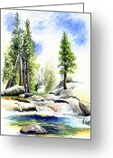 Natural Drawings Greeting Cards - Tuolumne River on an August afternoon Greeting Card by Logan Parsons