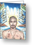 Inspirational Drawings Greeting Cards - Tupac in Heaven Greeting Card by Debbie DeWitt
