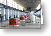 Cavern Greeting Cards - Turbine Hall Of Hydroelectric Dam Greeting Card by Ria Novosti