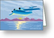 Transit Greeting Cards - Turbo Jet Plane Retro Greeting Card by Aloysius Patrimonio