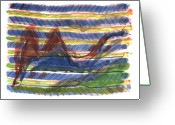 Paul Klee Greeting Cards - Turbulence at 35000 Feet Greeting Card by Kevin Callahan