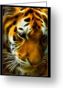 Custom Art Photo Greeting Cards - Turbulent Tiger Greeting Card by Ricky Barnard