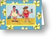 Caribbean Art Pastels Greeting Cards - Turistas - Tourists Greeting Card by William Depaula